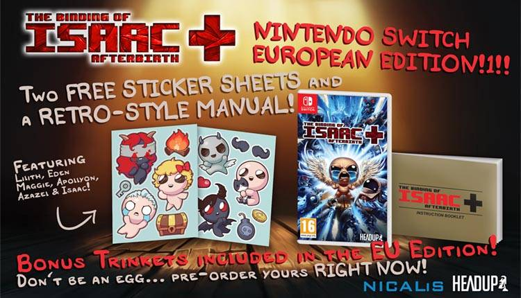 The Binding of Isaac Afterbirth+ ha una data di uscita europea per Nintendo Switch